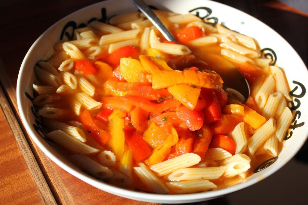 pasta met paprika, gegrilde paprika