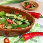 koreaanse komkommersalade, salade komkommer, japanse komkommersalade, zoetzure komkommer